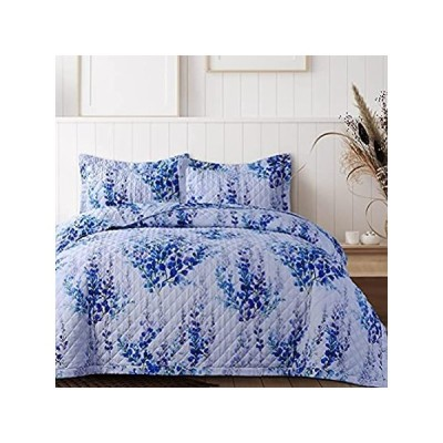AZORES HOME 110PRQUI Floral Printed Oversized Quilt Set, King, Blue