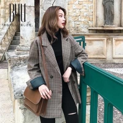 トップス コート 送料無料 レディース 韓国ファッション 秋服 新品入荷 スタイリッシュ お洒落 格子模様