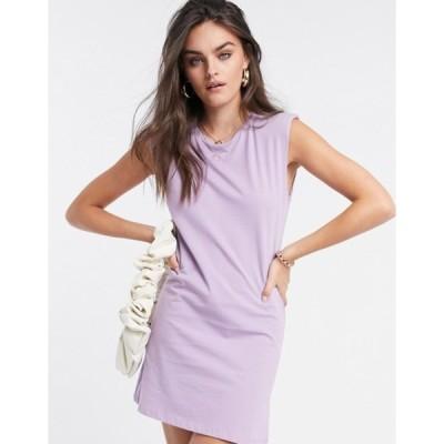 ストラディバリウス レディース ワンピース トップス Stradivarius padded shoulder dress in lilac