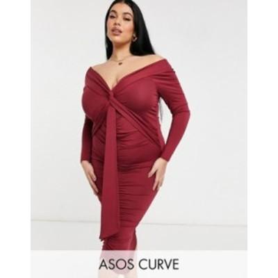 エイソス レディース ワンピース トップス ASOS DESIGN Curve bardot long sleeve midi dress with sash detail in maroon Maroon