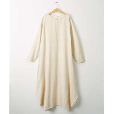 綿麻素材 イレギュラーヘムワンピース (ワンピース)Dress