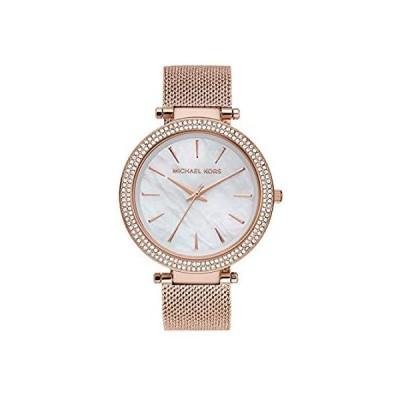 新品  Michael Kors Darci 3針腕時計 グリッツアクセント付き 39mm ローズゴールドメッシュ。  並行輸入品