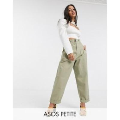 エイソス レディース カジュアルパンツ ボトムス ASOS DESIGN Petite paperbag waist chino pants in stone Stone