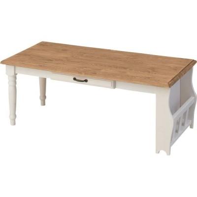 センターテーブル 〔Midi〕ミディ 木製 棚/引き出し収納付き CFS-214