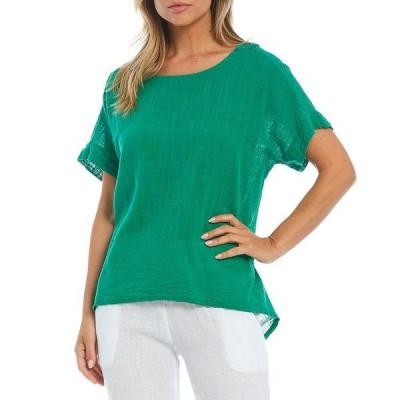 エム・メイド・イン・イタリー レディース カットソー トップス Short Sleeve Lace Back Cotton Top Green