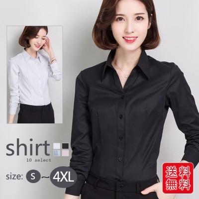 春新作 レディース シャツ ブラウス オフィス ノーカラー 長袖 無地 きれいめ ゆったり 大きいサイズ