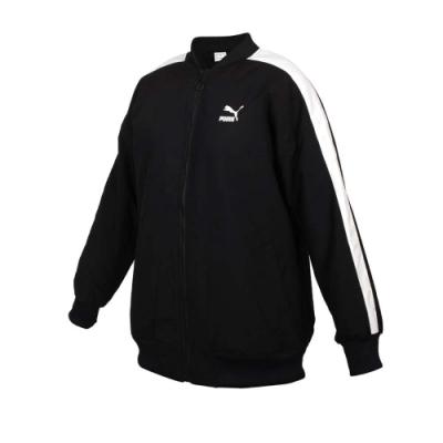 PUMA 女立領棒球外套-歐規 平織 運動 慢跑 53027501 黑白