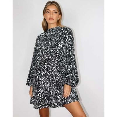 ミスガイデッド レディース ワンピース トップス Missguided long sleeve shift dress with high neck in dalmatian Multi