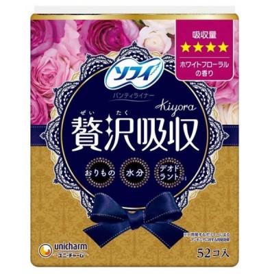 ユニチャーム ソフィKiyora贅沢吸収ホワイトフローラル少し多い用52枚 キヨラゼイタクフローラオオイ52マイ