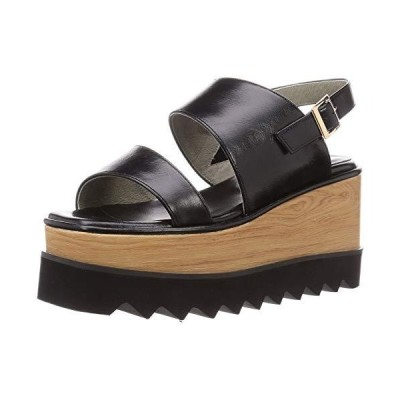 オリエンタルトラフィック サンダル レディース スクエアトゥ 美脚 ヒール 厚底 大きいサイズ 小さいサイズ 歩きやすい 1212 BLAC