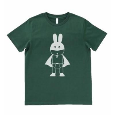 デザインTシャツ おもしろ ウサギのコウモリ男 モスグリーン