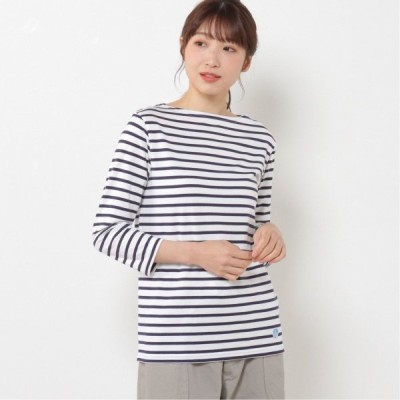 ボートネックTシャツ ホワイト/マリン 1 2