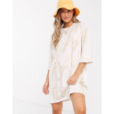 エイソス レディース ワンピース トップス ASOS DESIGN oversized t-shirt dress in cream tie dye Cream tie dye