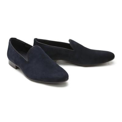 メンズ ローファー カジュアル ネイビー 革靴 本革 ビジネスシューズ クインクラシコ ドレスシューズ 87001nvs ネイビースエード オペラシューズラバーソール