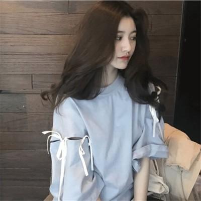 Tシャツ レディース 半袖 トップス リボン ゆったり ワイド 丸首  コットン オシャレ かわいい 贈り物 春夏