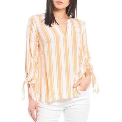 マイケルコース レディース シャツ トップス MICHAEL Michael Kors Deck Stripe Crinkle Woven Split V-Neck Tie Sleeve Top Melon
