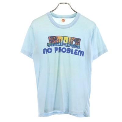 Sun Island 80s ヴィンテージ プリント 半袖 Tシャツ M ブルー  JAMAICA 綿ポリ メンズ 古着 200923 メール便可