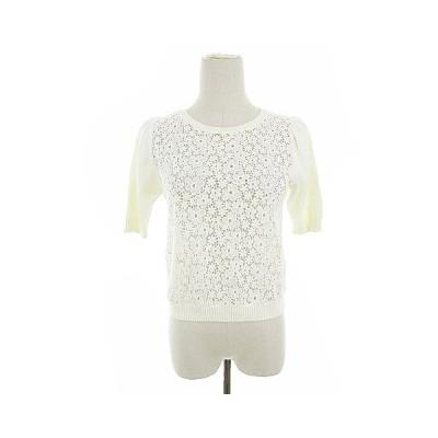 【中古】ローズブリット rosebullet ニット セーター 半袖 刺繍 レース 花柄 2 白 ホワイト /AAM28 レディース 【ベクトル 古着】