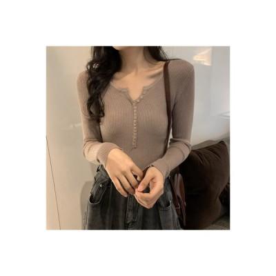 【送料無料】ニット 秋 女 年 韓国風 何でも似合う 襟 長袖 インナー 薄いスタイ | 364331_A63835-0770552