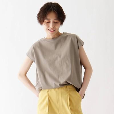 シューラルー SHOO-LA-RUE ひんやり 配色ステッチTシャツ (グレー)