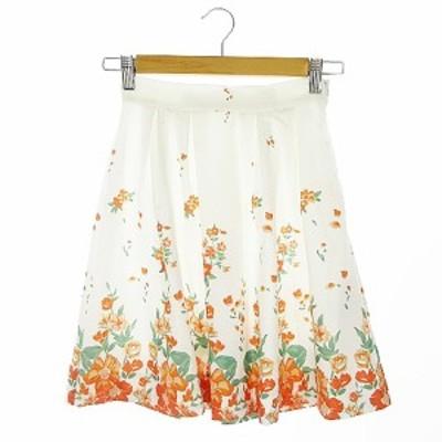 【中古】マーキュリーデュオ MERCURYDUO スカート フレア ミニ タック 花柄 S 白 ホワイト /AAO1 レディース