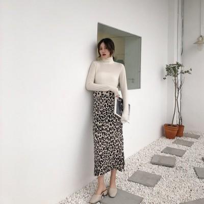 Fashions、2018新品  韓国ファッション   CHIC気質   スリム  豹柄  スプリット  ニットスカート