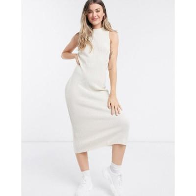 エイソス ミディドレス レディース ASOS DESIGN knitted dress with open back in oatmeal エイソス ASOS