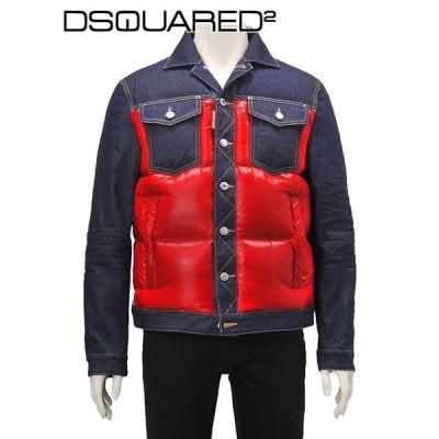 ディースクエアード DSQUARED2 メンズ ダウンジャケット デニムブルゾン Gジャン ナイロンコンビ レッド&インディゴ 国内正規品 Men's