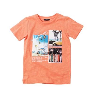 【グラソス】 スラブ天竺・ビーチフォト半袖Tシャツ キッズ オレンジ 130cm GLAZOS