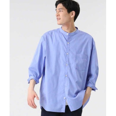 (BACK NUMBER/バック ナンバー)バックナンバー DRY7分袖バンドカラーシャツ/メンズ サックス