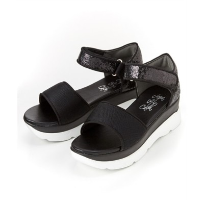 【ゆったり幅】グリッタースニーカーサンダル(低反発中敷)(ワイズ4E) サンダル, Sandals