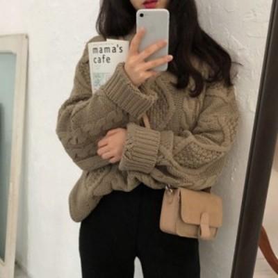 セーター ニット ラウンドネック 長袖 無地 ケーブル編み 大人可愛い ゆったり オーバーサイズ カジュアル 韓国ファッション 春夏 デート