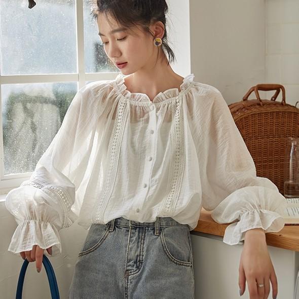 35816 荷葉邊燈籠袖優雅法式襯衫 新款花邊寬鬆長袖襯衣女裝上衣 薄荷美衣