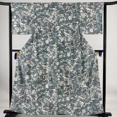 小紋 優品 草花 寄せ柄 ちりめん 青灰色 袷 身丈159cm 裄丈63.5cm S 正絹 中古