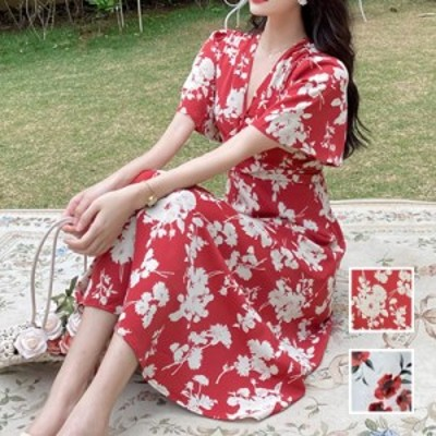 リゾートワンピース ワンピース リゾート 韓国 ファッション  夏 春 カジュアル naloI603  フレア袖 Vネック ツイスト Aライン フェミニ