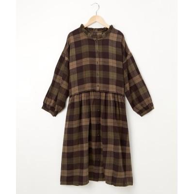 前後2WAYチェックシャツワンピース (ワンピース)Dress