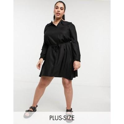 ヴェロモーダ ドレス 大きいサイズ レディース Vero Moda Curve mini dress with prairie collar in black エイソス ASOS ブラック 黒