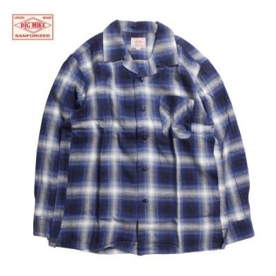 チェックシャツ メンズ ブランド ネイビー 青 オープンシャツ オープンカラーシャツ ネルシャツ 開襟 長袖 シャツ 長袖シャツ チェック柄