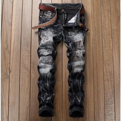 デニムパンツ ジーンズ メンズ デニムジーンズ スキニーパンツ メンズ ジーパン ロングパンツ カジュアル ダメージ 加工 大きいサイズ