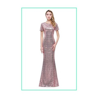 honey qiao Rose Gold Short Sleeves Bridesmaid Dresses Long High Back Formal Gown並行輸入品
