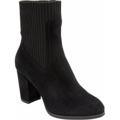 バイオニック レディース ブーツ・レインブーツ シューズ Kaylee Ankle Bootie Black Knit/Suede