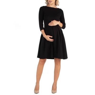 24セブンコンフォート レディース ワンピース トップス Maternity Knee Length Fit and Flare Dress With Pockets