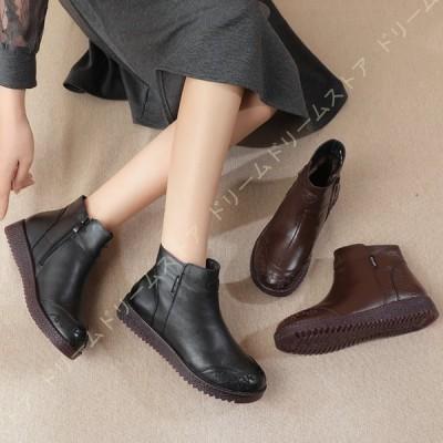 ショートブーツ ブーツ レザー調 レディース 刺繍 柔軟性 3cmヒール ぺたんこ フラット 軽い 疲れにくい 秋 冬 女性 厚底ブーツ 歩きやすい ぺたんこ フラット