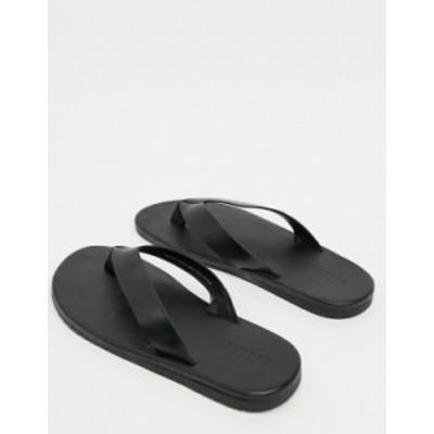 エイソス メンズ サンダル シューズ ASOS DESIGN flip flops in black leather Black