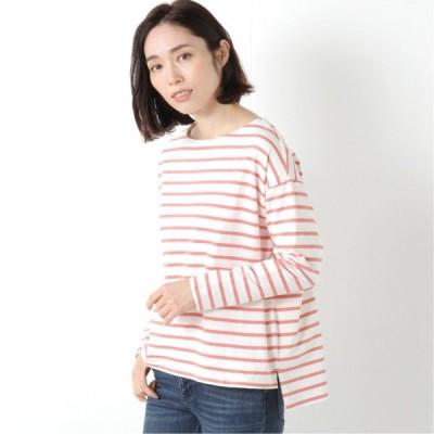 コットン100%のボーダードロップショルダートップス ピンク M〜L