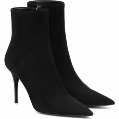 イヴ サンローラン Saint Laurent レディース ブーツ ショートブーツ シューズ・靴 Lexi 90 suede ankle boots Noir