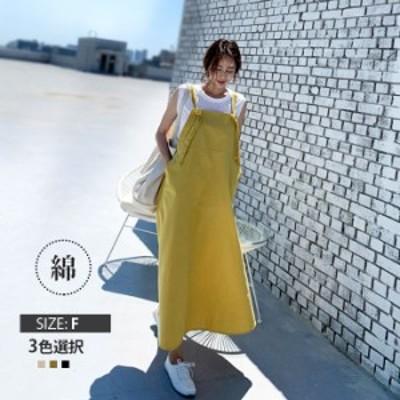 夏新作  ロングキャミワンピース 綿 無地 シンプル 韓国風 女性 学生 夏 吸汗 涼しい プレゼント キャミワンピース ワンピース ロング丈