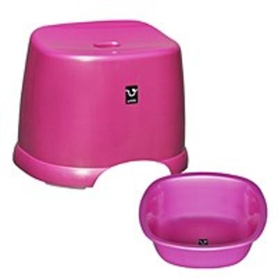 シンカテック アンティー 風呂椅子・湯桶セット ピンク【代引不可】【日用品館】