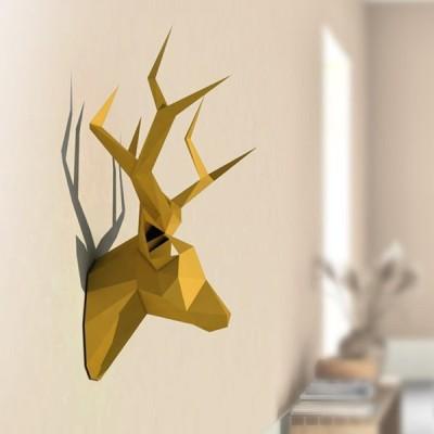 ペーパークラフト ウォール オブジェ 壁 装飾 3D 鹿 ディアー ヘッド 動物 インテリア 雑貨