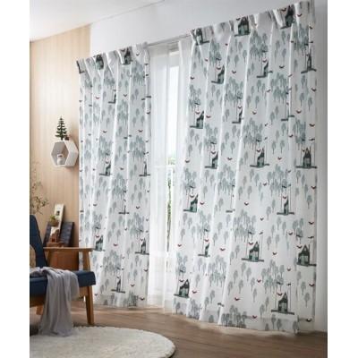 北欧風・森とキツネカーテン ドレープカーテン(遮光あり・なし) Curtains, blackout curtains, thermal curtains, Drape(ニッセン、nissen)